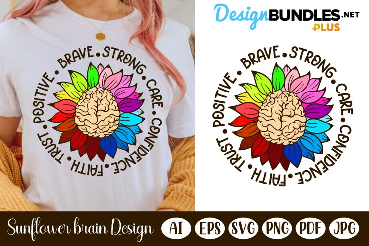 Colorful Sunflower Brain   Mental Health Awareness SVG
