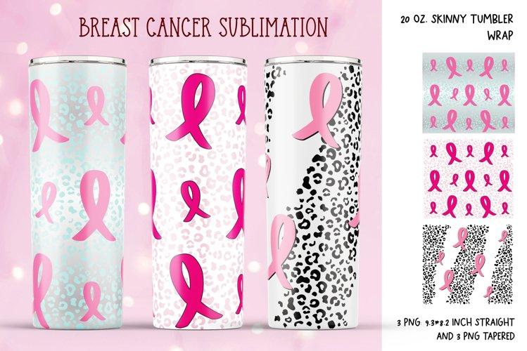 Pink Ribbon Tumbler Sublimation. Breast Cancer Tumbler Wrap