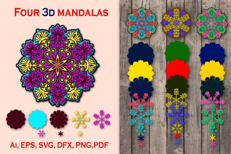 Four bright 3D mandalas
