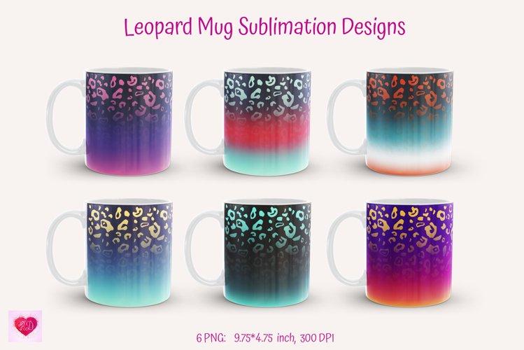 leopard Mug Sublimation Designs. Bright ombre leopard for full wrap mug sublimation