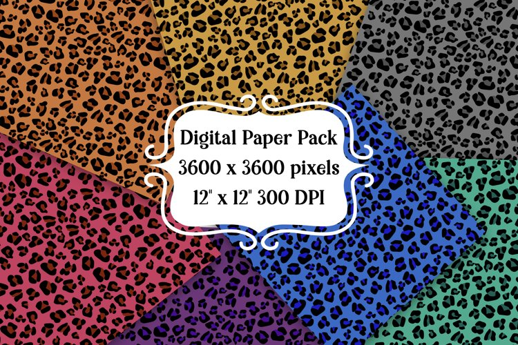 Colorful Leopard Digital Paper Pack   Backgrounds   Textures example image 1