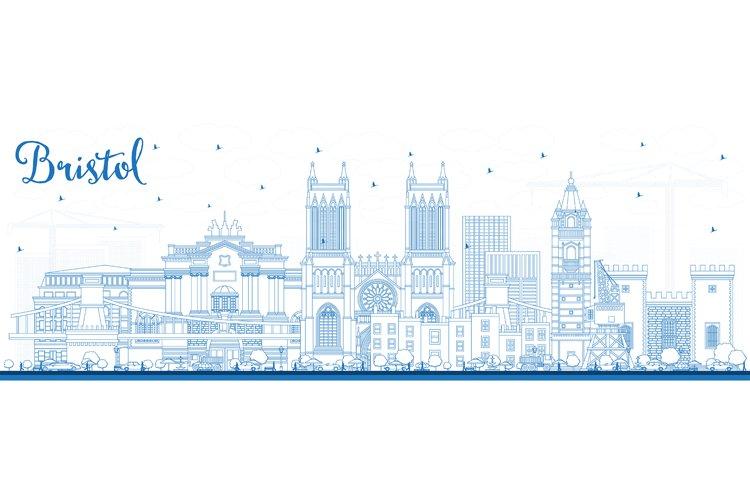 Outline Bristol UK City Skyline with Blue Buildings.