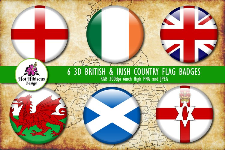 Britain and Ireland Flags 3D Badges, Union Jack Flag