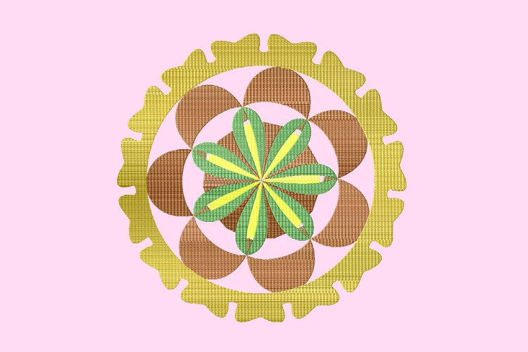 Brown mandala embroidery example image 1