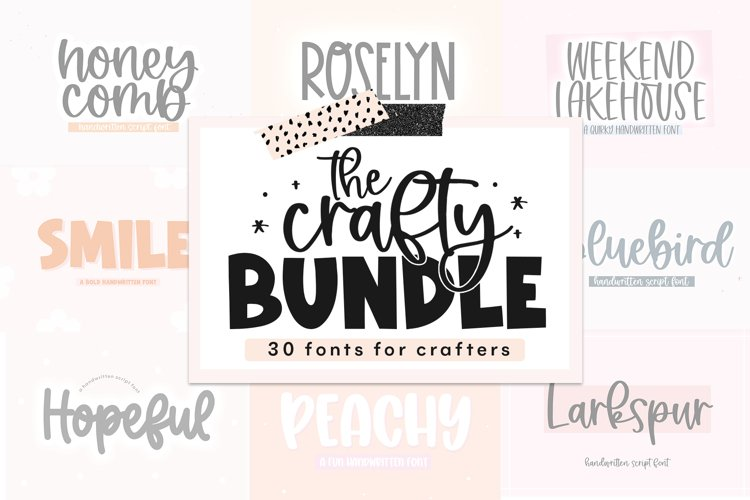 Crafty Font Bundle - 30 Handwritten Fonts for Crafters