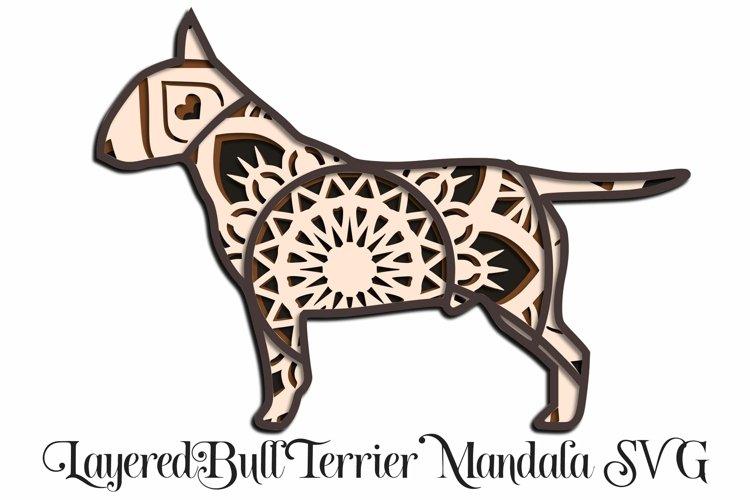 Bull Terrier Mandala Layered SVG - Class Clown Dog example image 1