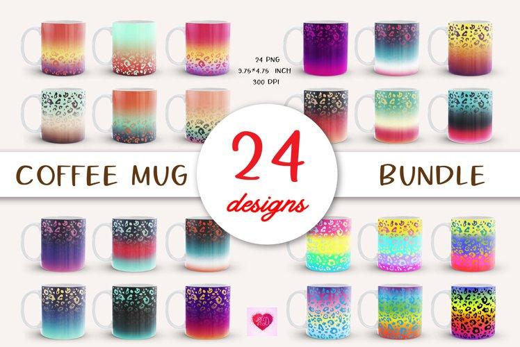 Leopard Coffee Mug Bundle. Full Wrap Mug Sublimation Wrap
