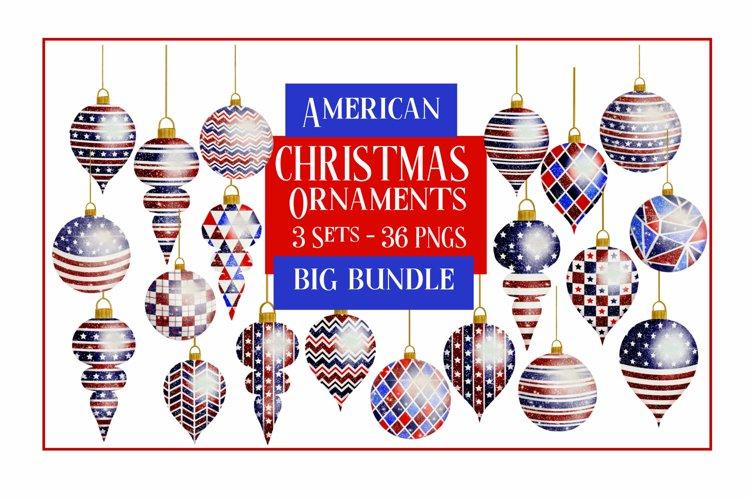 American Christmas Bauble Ornaments BIG BUNDLE 36 PNGS example image 1