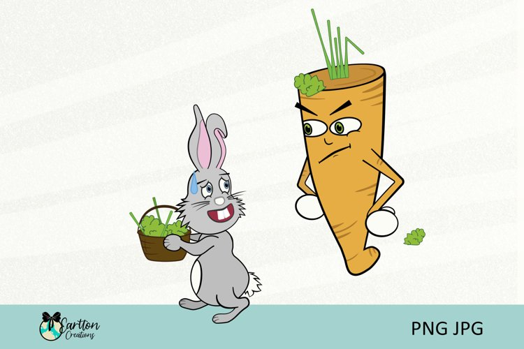 Cheeky Bunny Carrot Cartoon Clipart Sublimation Easter PNG