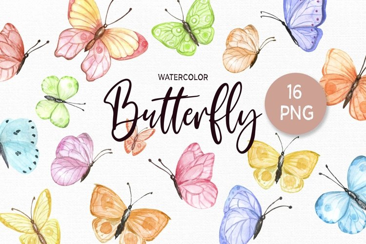 Watercolor Butterfly Clipart Butterflies Clip art set example image 1