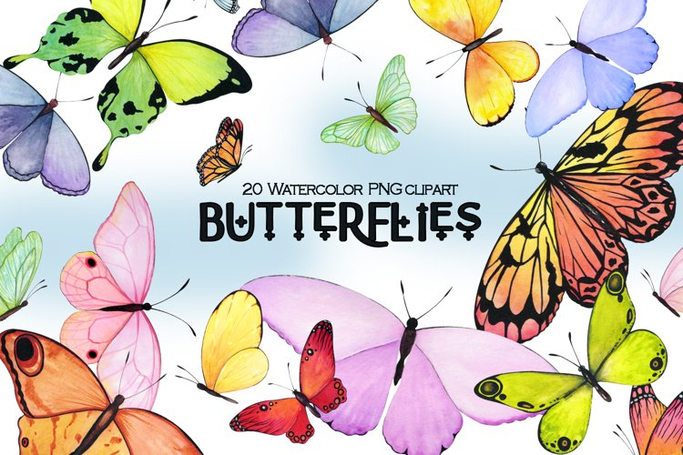 Watercolor butterfly PNG clipart, Summer clip art