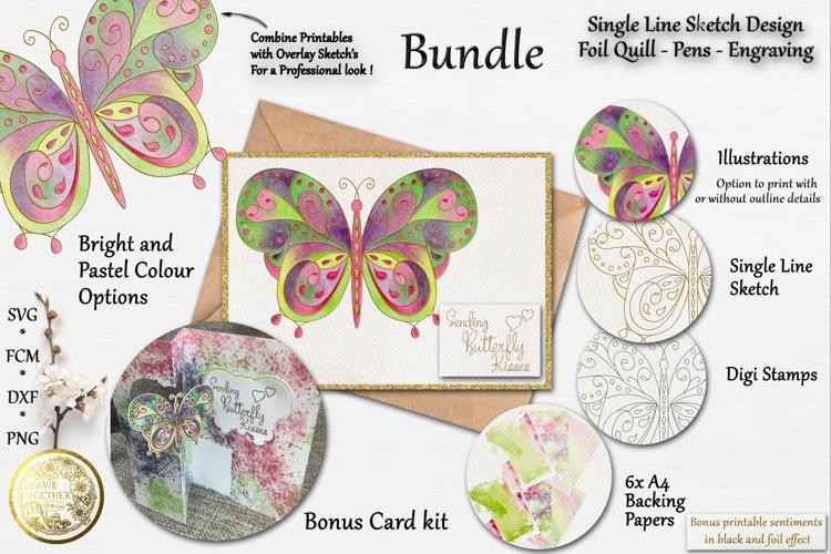 Butterfly 1 - Illustrations Single line Digi Card Kit Bundle