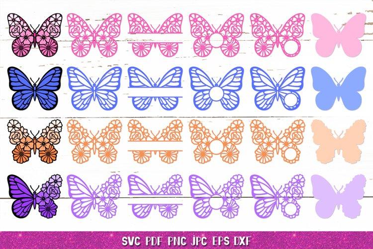 Butterfly Flowers,Butterfly SVG,Butterfly Monogram SVG