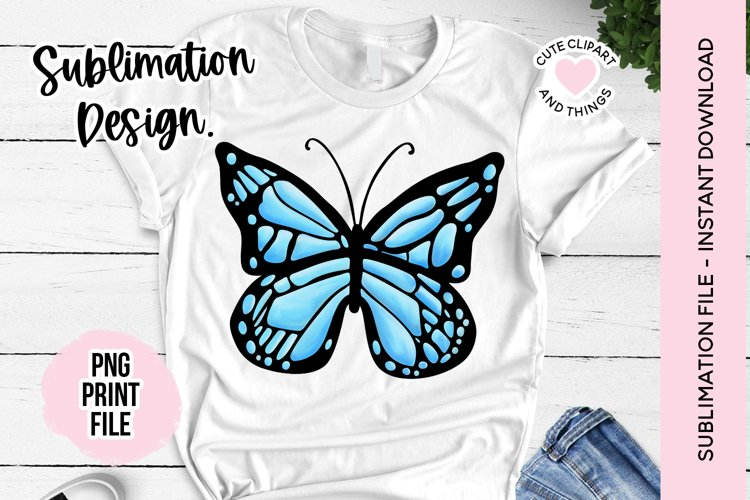 Sublimation Design - Blue Butterfly Sublimation