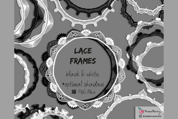 Lace Overlay Clipart Black and White PNG | Drawberry CP072 example image 1