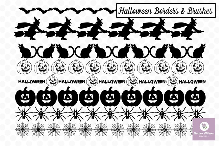 Halloween SVG Borders and PS Brushes Bundle example image 1