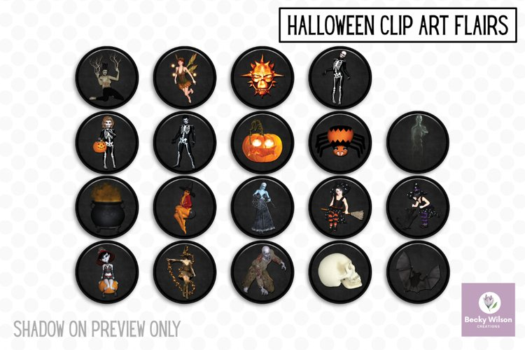 Halloween Clip Art Flairs example image 1