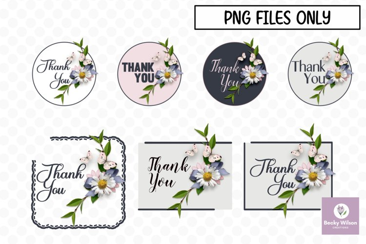 Flower Thank You Stickers-Print and Cut example image 1