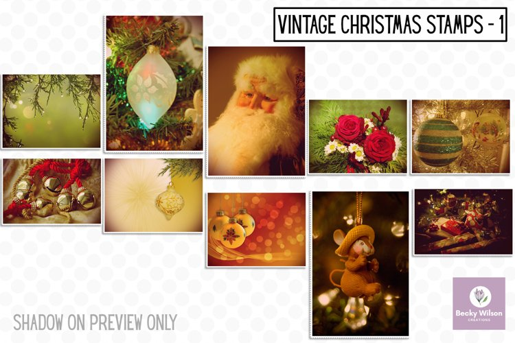 Christmas Vintage Stamps Set 1 example image 1