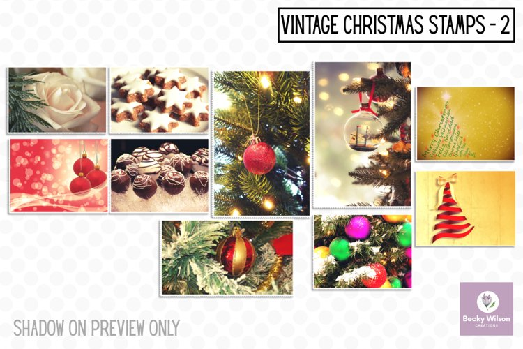 Christmas Vintage Stamps Set 2 example image 1