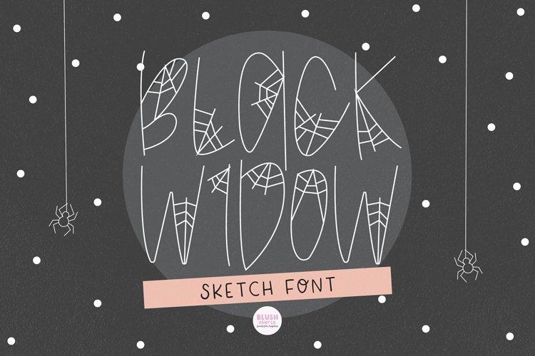 BLACK WIDOW Halloween Sketch Font - Single Line/Hairline