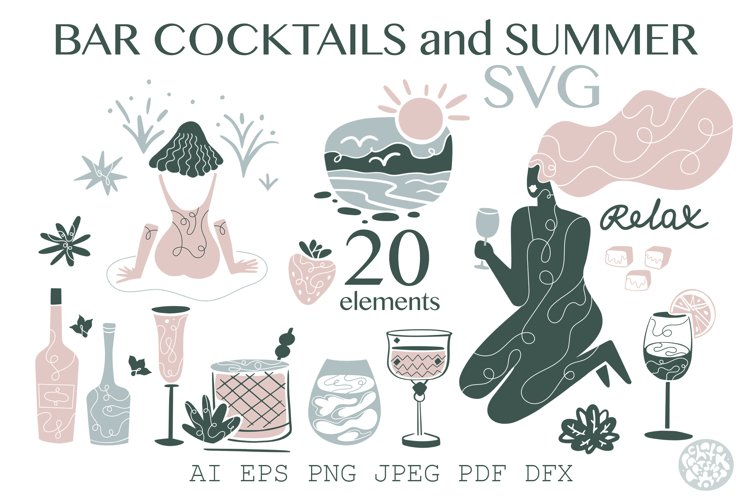 BAR, COCKTAILS and SUMMER. SVG sticker print collection