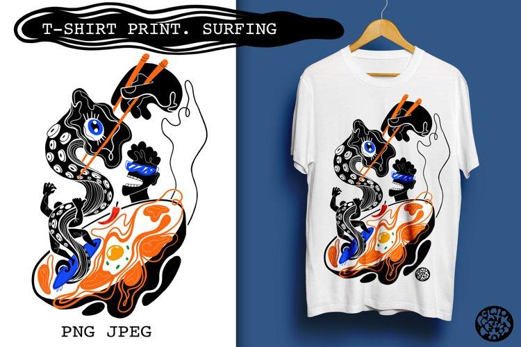 Surfing print on t-shirt. PNG, Jpeg.illustration on white