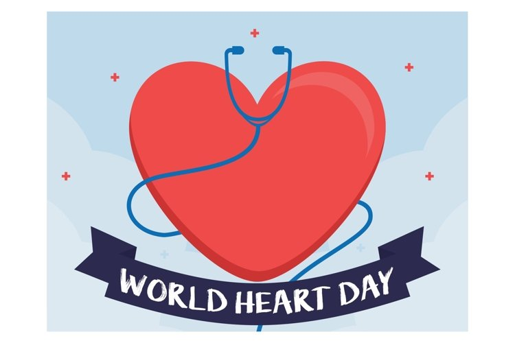 World Heart Day background flat design example image 1