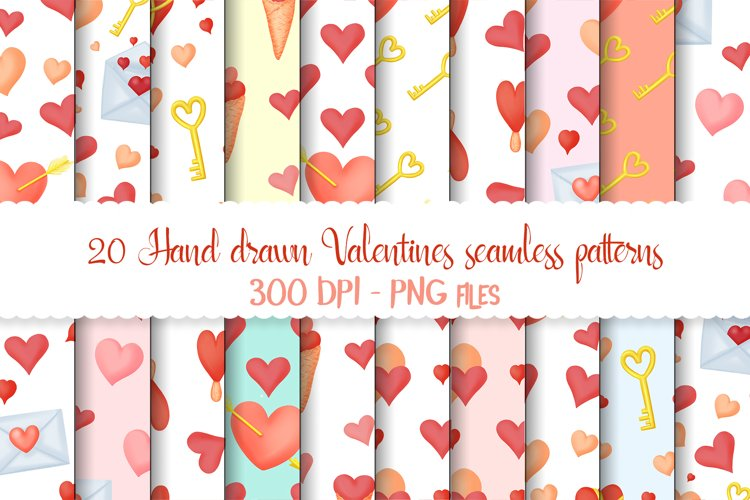Hand drawn valentines seamless patterns png set example image 1