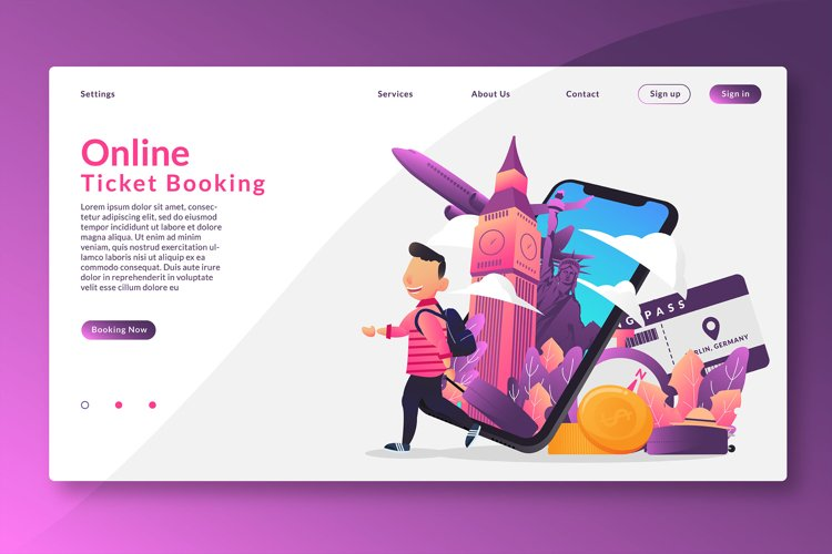 Online Ticket Booking - Landing Page example image 1
