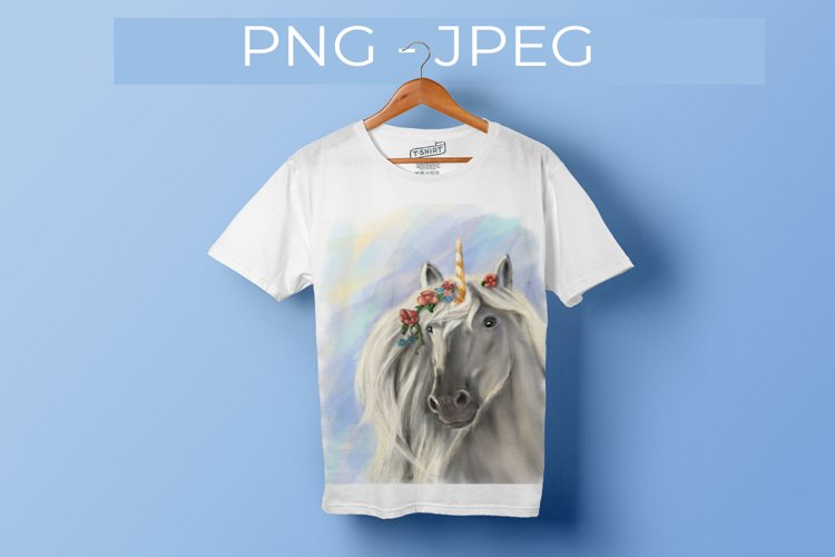 Magical unicorn, t-shirt or poster print, PNG sublimation