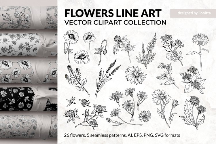 Flowers Line Art - Floral Clipart Collection, SVG Patterns
