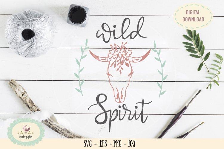 Wild spirit boho skull SVG PNG hand drawn example image 1