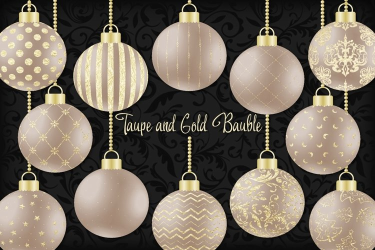Taupe and Gold Christmas Bauble