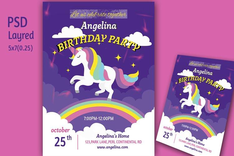 Unicorn Birthday Invitation Card