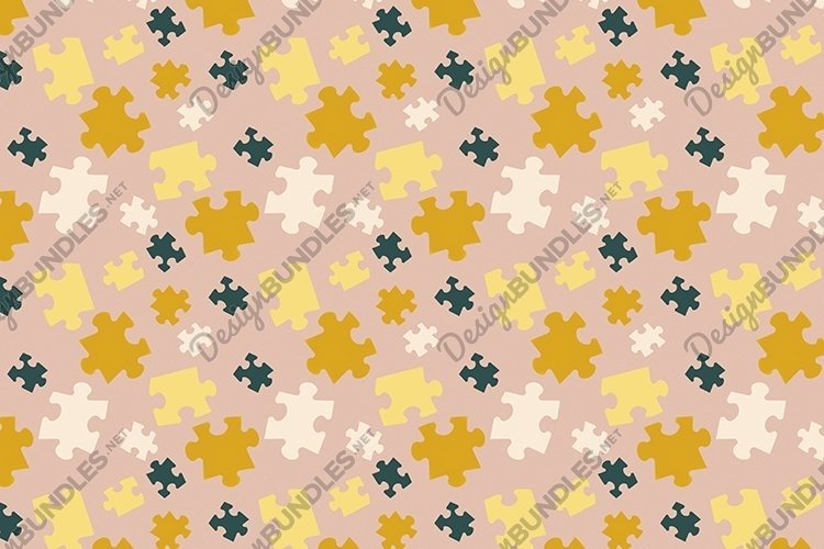 Seamless regular pattern with puzzle elements. example image 1