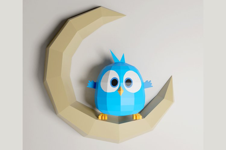 PDF Template of Baby Bird On Moon / Hatchling / Papercraft example image 1