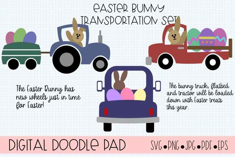 Easter Bunny Truck SVG Cut Files for Cricut and Silhouette example image 1
