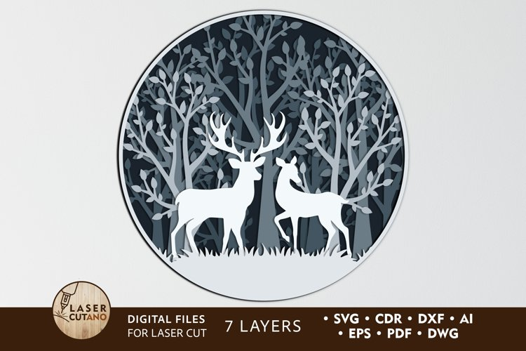 Multilayer Cut File PANNO DEER for Cricut or Wood Laser Cut