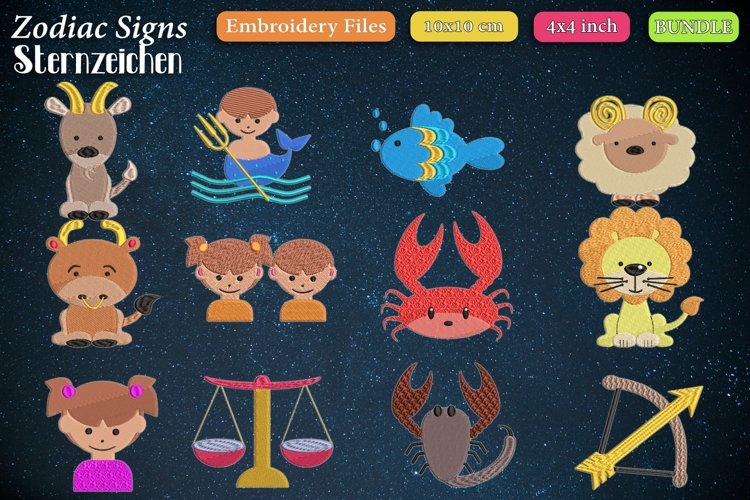 Zodiac signs - Embroidery Files - Bundle example image 1