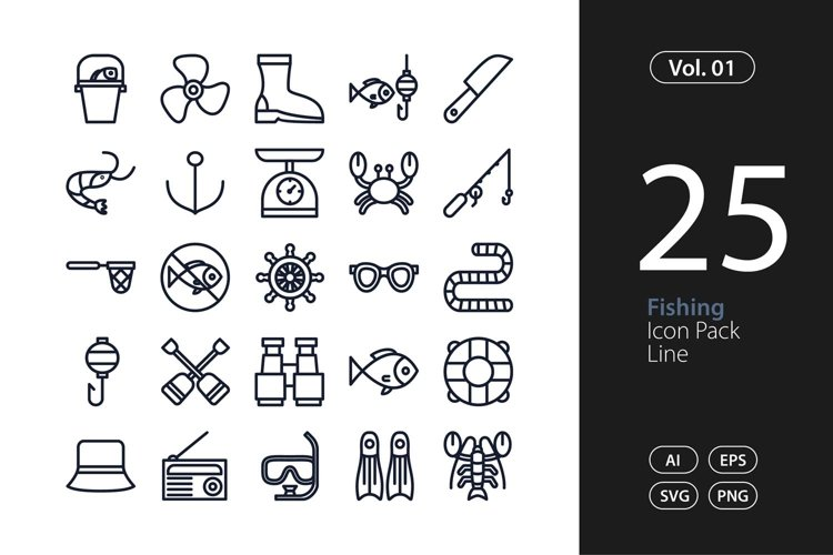 Fishing Icon Line SVG, EPS, PNG