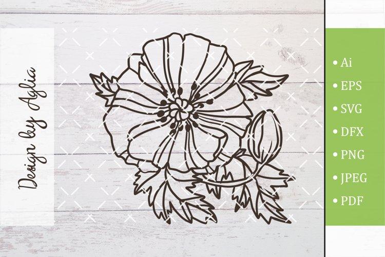 SVG flower poppy, Cut file, Line art illustration