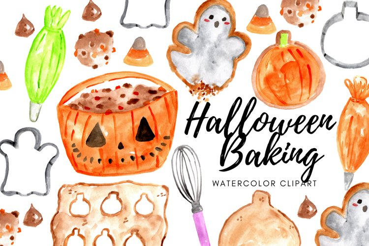 Watercolor Halloween baking food clipart example image 1