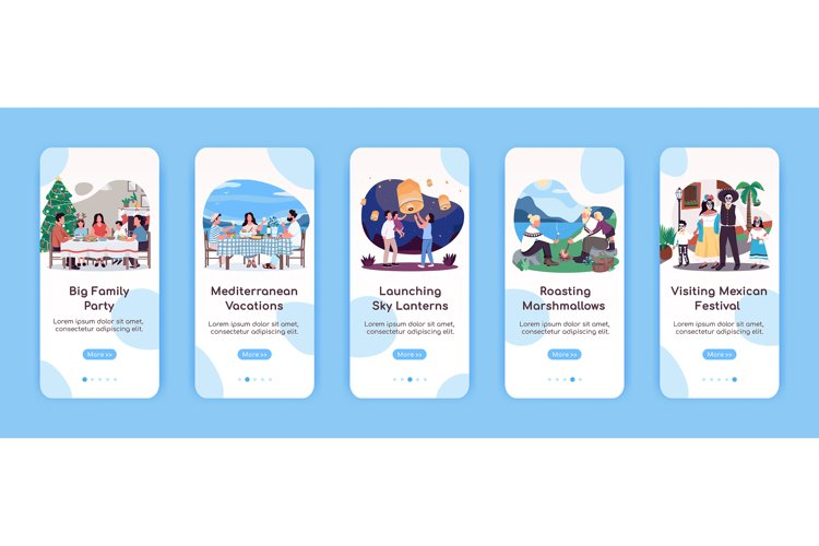 Quality family time onboarding mobile app screen template example image 1