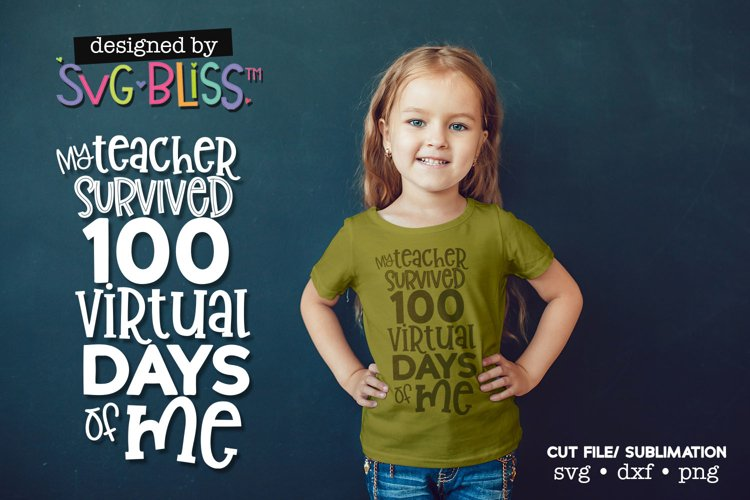 100th Day of School Virtual E-learning SVG Cut File