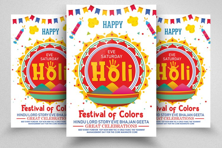 Happy Holi Festival Flyer Template example image 1
