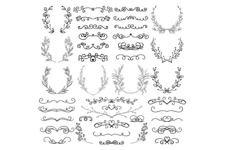 Drawn Swirls, Scrolls, Dividers, Laurels, Branches, Brackets
