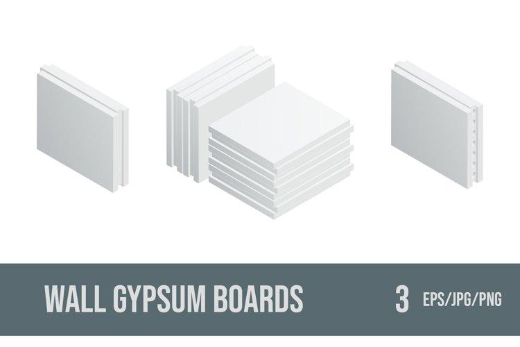 Set of vector illustrations wall gypsum boards.