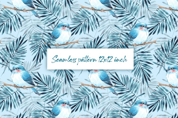 Seamless pattern with leaves and birds example image 1