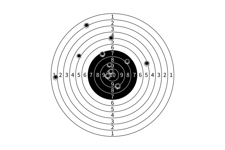 Gun target with bullet holes vector illustration example image 1